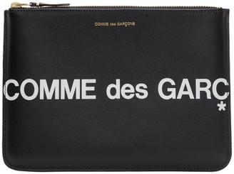 Comme des Garcons Wallets Wallets Black Huge Logo Zip Pouch