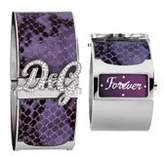 Dolce & Gabbana Women's Quartz Watch with Purple Dial Analogue Display and Silver Leather Strap DW0137