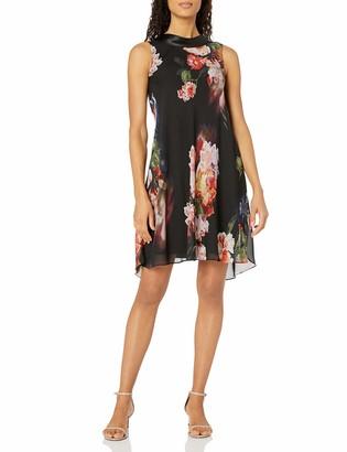 SL Fashions Women's Notch Collared Printed Dress