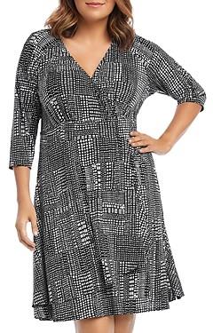 Karen Kane Plus Faux Wrap Pebble-Print Dress