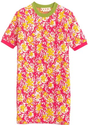 Marni Short Sleeve Printed Shift Dress in Pink Clematis