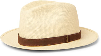 Borsalino Country Suede-Trimmed Straw Panama Hat