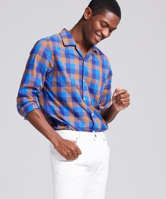 Todd Snyder Camp Collar Long Sleeve Shirt in Chestnut Blue Plaid
