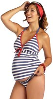 Pez D'or Maternity Palm Springs Lurex Striped Halter Tankini Two Piece 8131931