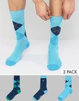 Original Penguin 3 Pack Socks Argyle