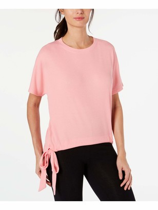 Ideology Womens Pink Ribbed Short Sleeve Jewel Neck Sweater Size: S
