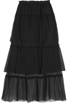 Sonia Rykiel Ruffled Tiered Silk-georgette Maxi Skirt - Black