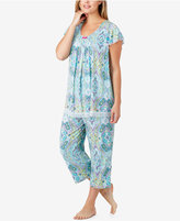 Ellen Tracy Plus Size Mesh-Trimmed Printed Pajama Top