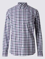 Marks and Spencer Pure Cotton Long Sleeve Gingham Checked Shirt