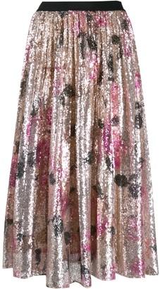 Pinko Sequinned Floral Midi Skirt