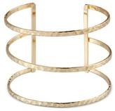 Women's Three Row Hammered Cuff Bracelet - Gold