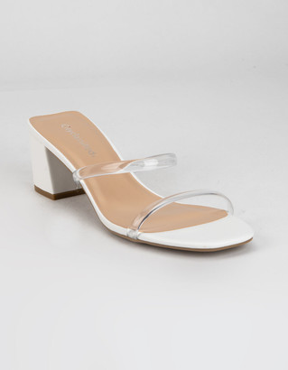 City Classified Clear Two Strap Womens White Heels