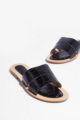 Nasty Gal Womens Ground Mules Croc Flat Sandals - Black - 3