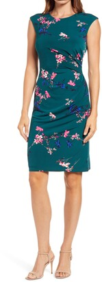 Eliza J Floral Cap Sleeve Stretch Jersey Sheath Dress