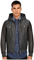 DSQUARED2 Tough Hooded Mixed Leather Bomber