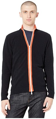 Eleventy Long Sleeve Spungia Cotton Full Zip Sweater (Navy) Men's Clothing