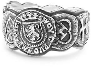 David Yurman Sterling Silver Shipwreck Coin Band Ring
