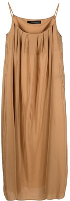 FEDERICA TOSI Pleated Silk Maxi Dress