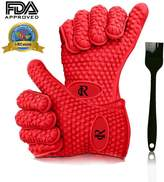 RC Heat Resistant Food Grade 5-fingered Silicone Gloves 1 Pair Kitchen Oven Cooking Barbecue Gloves (Red) + Sauce Brush (Black)