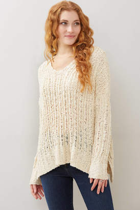 Hashtag V-Neck Tunic Cream S
