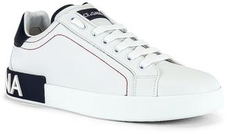 Dolce & Gabbana Low Top Sneaker in White & Blueberry | FWRD