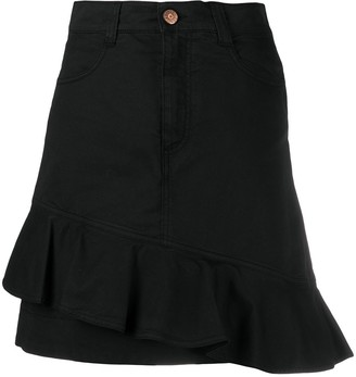 See by Chloe Asymmetrical Flounce Denim Mini Skirt