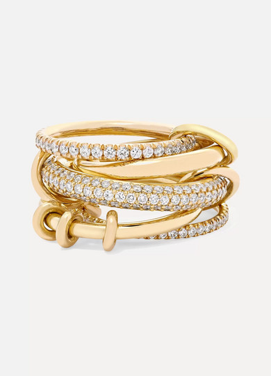 Spinelli Kilcollin Venus Set Of Five 18-karat Yellow Gold Diamond Rings