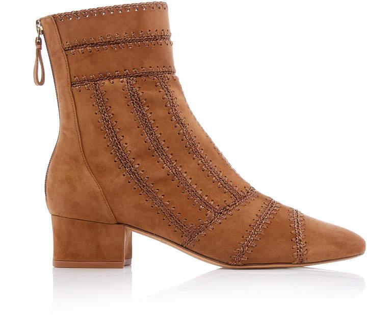 Alexandre Birman Beatrice Crochet Suede Ankle Boots