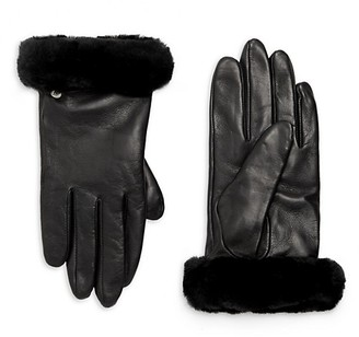 UGG Shorty Shearling-Cuff Leather Gloves
