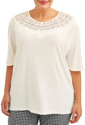 Terra & Sky Women's Plus Size Dolman Sleeve Top with Lace Yoke