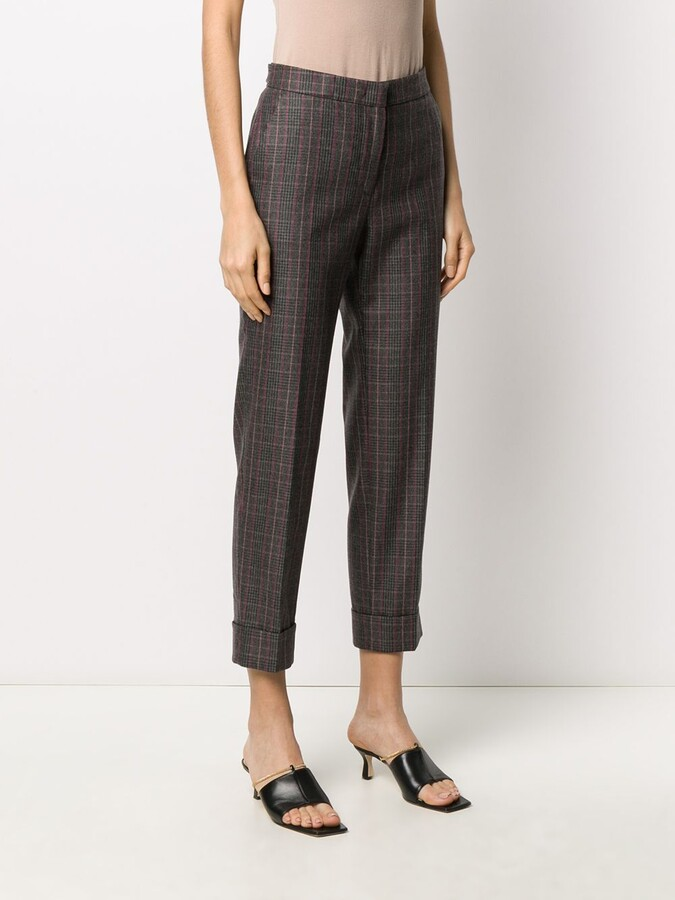 Thumbnail for your product : Pt01 Cropped Check Trousers