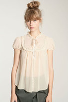 Pins & Needles Lace Bib Chiffon Blouse
