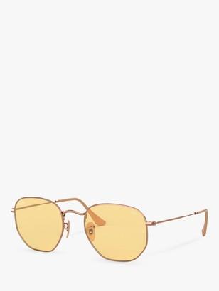 Ray-Ban RB3548N Hexgonal Sunglasses, Copper/Yellow