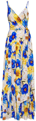 Borgo de Nor Gazella Wrap-effect Gathered Silk Crepe De Chine Maxi Dress