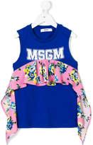 MSGM ruffle-trim logo print T-shirt