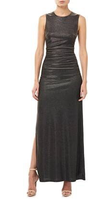 Halston Halson Heritage Metallic Ruched Cocktail Dress