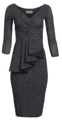 Chiara Boni Ariane Pinstriped Ruffled Sheath Dress