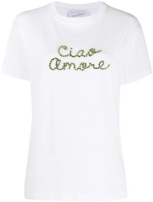 Giada Benincasa gem-embellished logo T-shirt