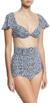 Michael Kors Belted Two-Piece Swim Set with Cape Sleeves