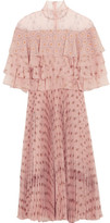 Valentino Ruffled Printed Silk-chiffon Dress - Blush