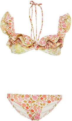 Zimmermann Ruffled Floral-print Halterneck Bikini