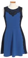 Blush by Us Angels Girl's Lace Trim Pique Dress