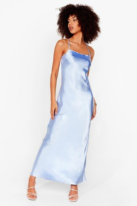 Nasty Gal Womens Don't Slip Down Satin Maxi Dress - Blue