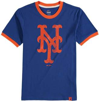 Majestic Youth Royal New York Mets Baseball Stripes Ring T-Shirt
