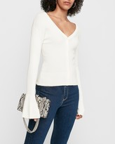 Express Ribbed Flare Sleeve Button Front Cardigan