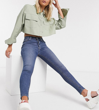 Collusion x001 highwaisted skinny jeans in mid blue