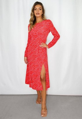 Missguided Petite Red Floral Print Ruched Bust Midi Dress