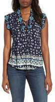 Lucky Brand Lace-Up Printed Top
