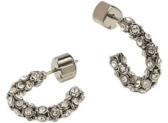 Kate Spade Adore-Ables Silverplated & Glass Pave Mini Hoop Earrings