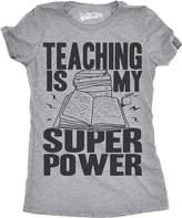 Crazy Dog T-shirts Crazy Dog Tshirts Womens Teaching Is My Superpower Funny Teacher Superhero Nerd T shirt -L